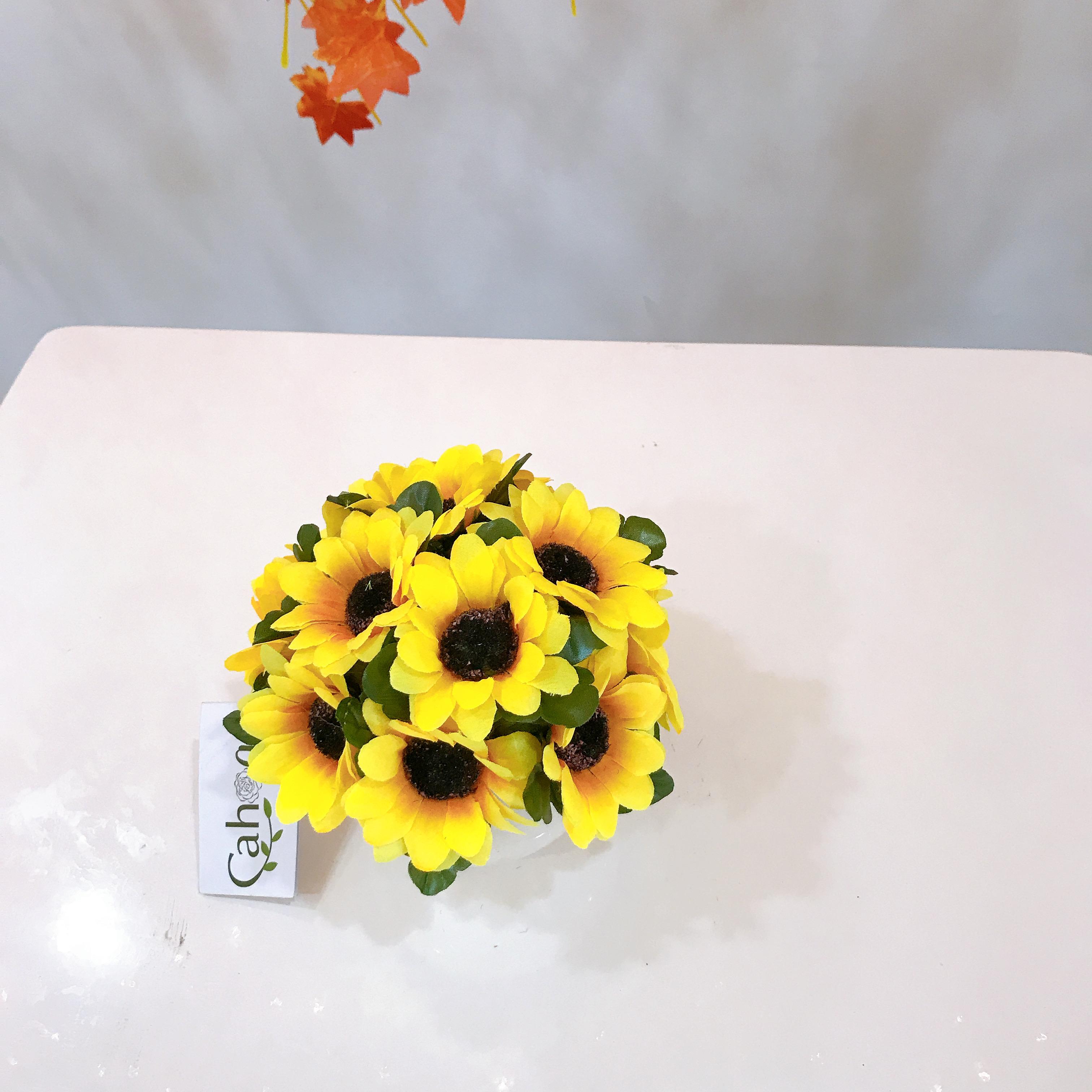 Hoa Giả Chậu Hoa Hướng Dương Tròn Cắm Sẵn