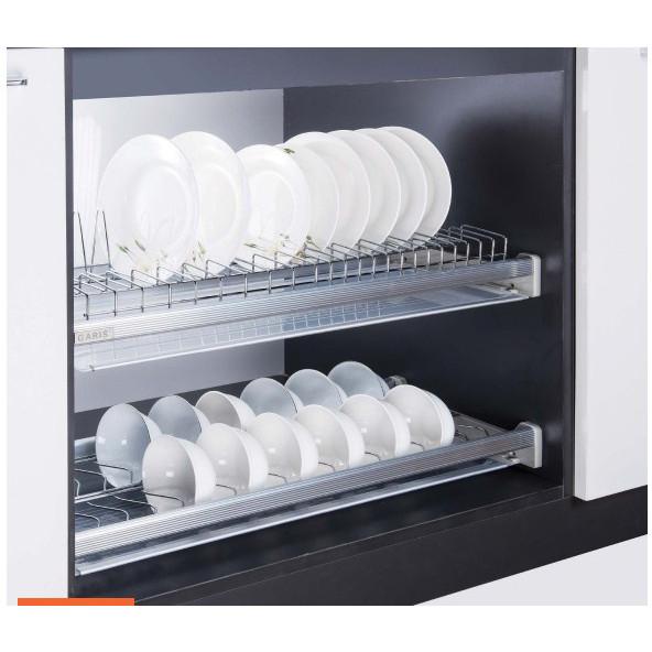 Giá bát đĩa inox nan 2 tầng cố định cho tủ bếp trên