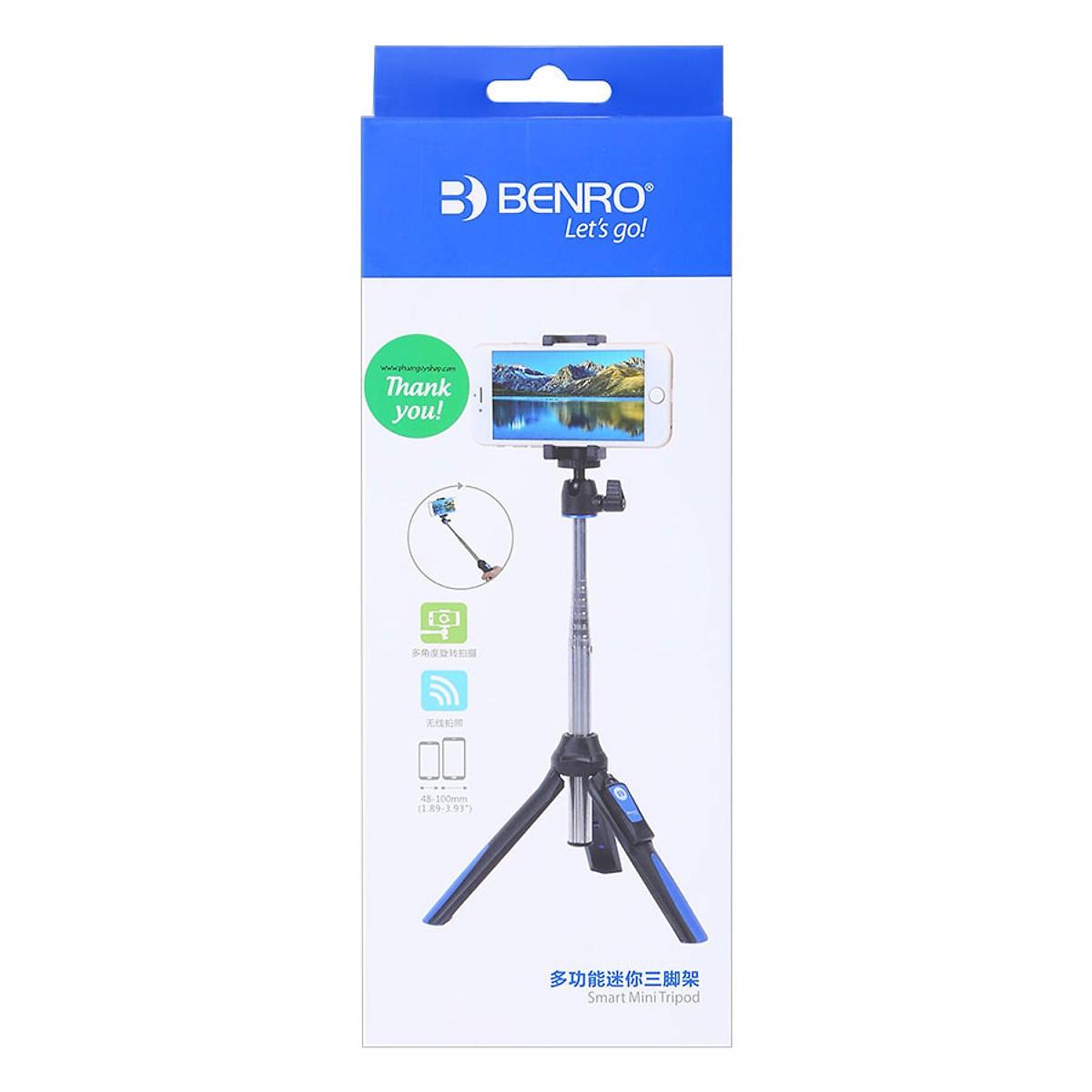 Gậy Selfie Chụp Hình Tự Sướng Tích Hợp Tripod Benro MK10 Hỗ Trợ Bluetooth 3.0( Đen Xanh) - Hàng Nhập Khẩu