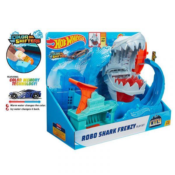 Bộ thử thách Hot Wheels city cá mập bay GJL12