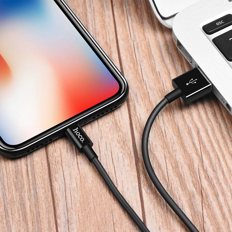 Cáp sạc nhanh Hoco X23 (Lightning) hỗ trợ truyền dữ liệu, sạc nhanh 2A MAX, dây sạc được làm từ chất liệu ABS, TPE siêu bền, dành cho iPhone XS Max, iPhone 11, iPhone 11 Pro Max - Hàng chính hãng