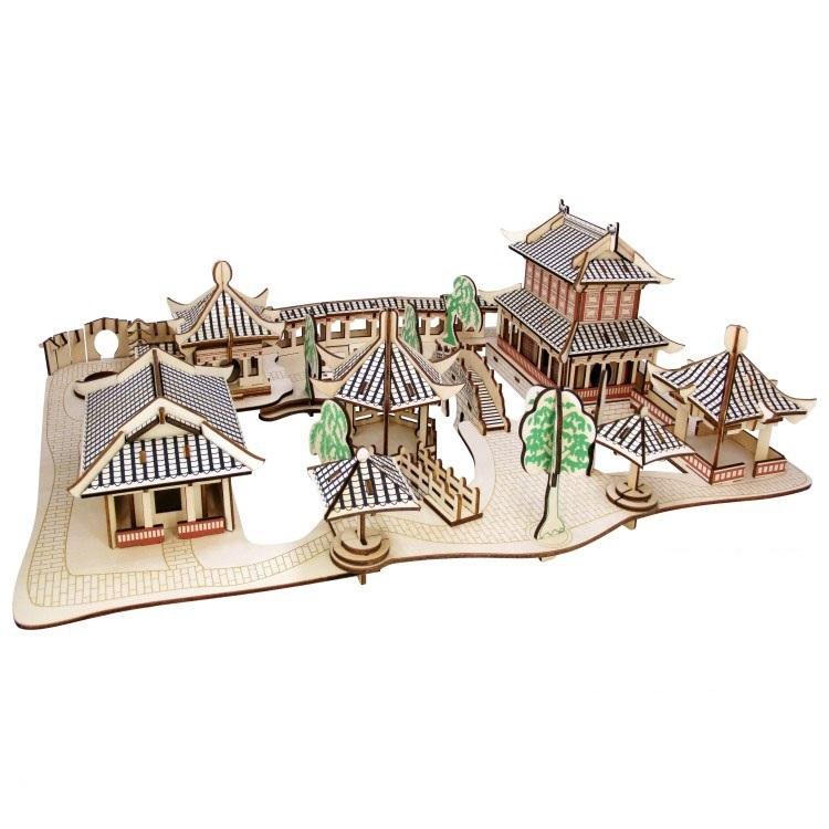 Đồ chơi lắp ráp gỗ 3D Mô hình Nhà vườn Tô Châu Laser LC-GPH039 Kèm đèn LED