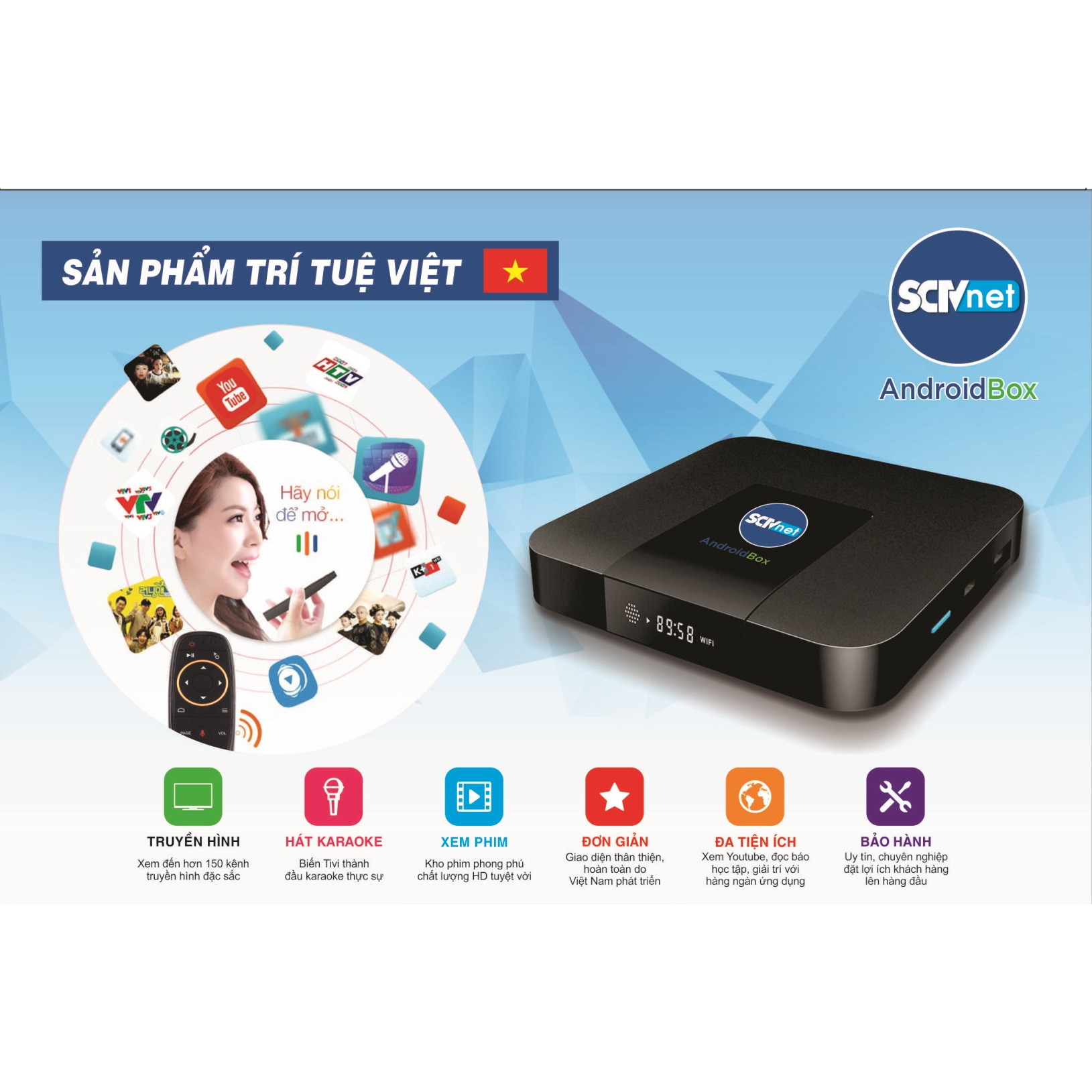 SCTV Android Box Cao cấp S2 2020 đỉnh cao công nghệ ( HĐH Android TV 9, Điều khiển giọng nói 1 chạm, chuột bay , Kết nối Bluetooth không dây, Hình ảnh 4K, Cổng âm thanh quang Optical ) - Tặng gói giải trí bản quyền Family - Hàng chính hãng