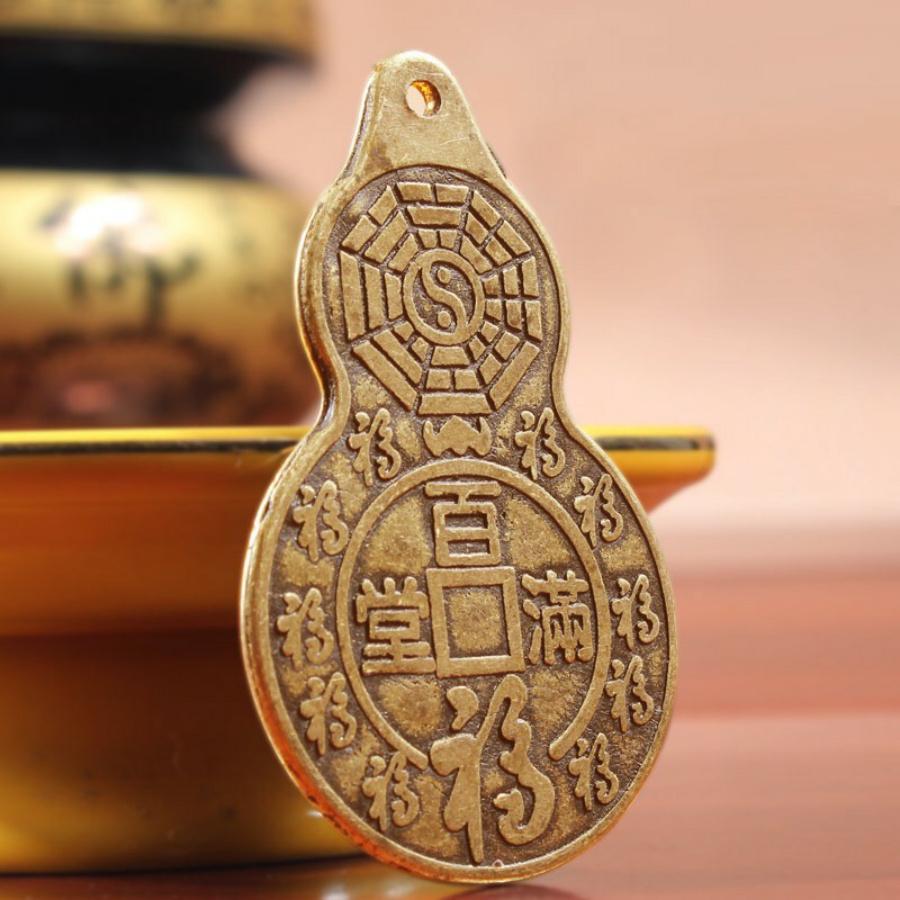 ĐỒNG XU HỒ LÔ BÁT QUÁI PHONG THUỶ bằng đồng