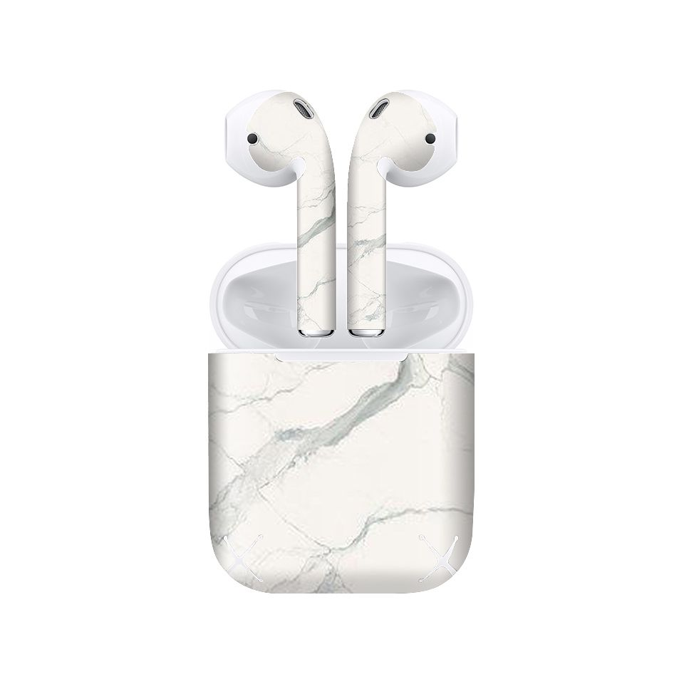 Miếng dán skin chống bẩn cho tai nghe AirPods in hình đá xám - dah005 (bản không dây 1 và 2)