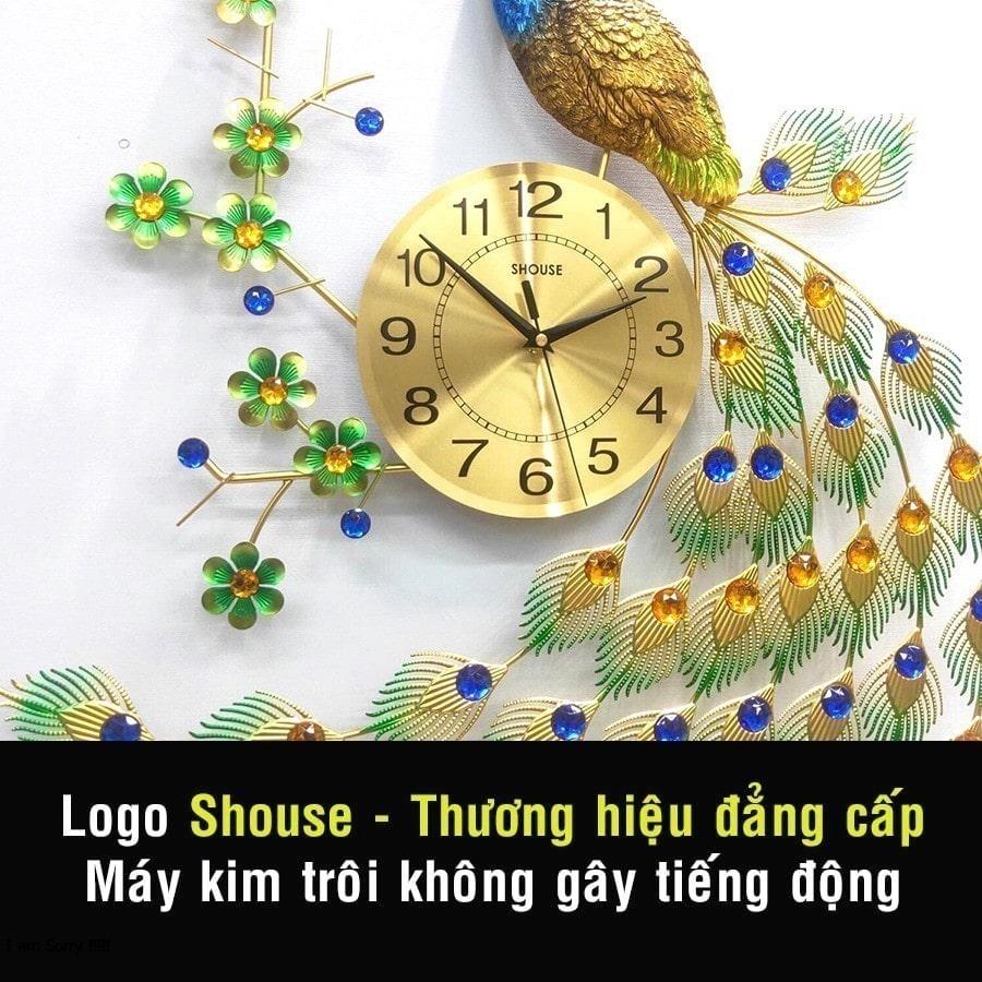 Đồng Hồ Treo Tường Con Chim Công Khổng Tước Kim Trôi A68 Nghệ Thuật Cao Cấp Shouse hiện đại 3D kích cỡ lớn đẹp treo phòng khách