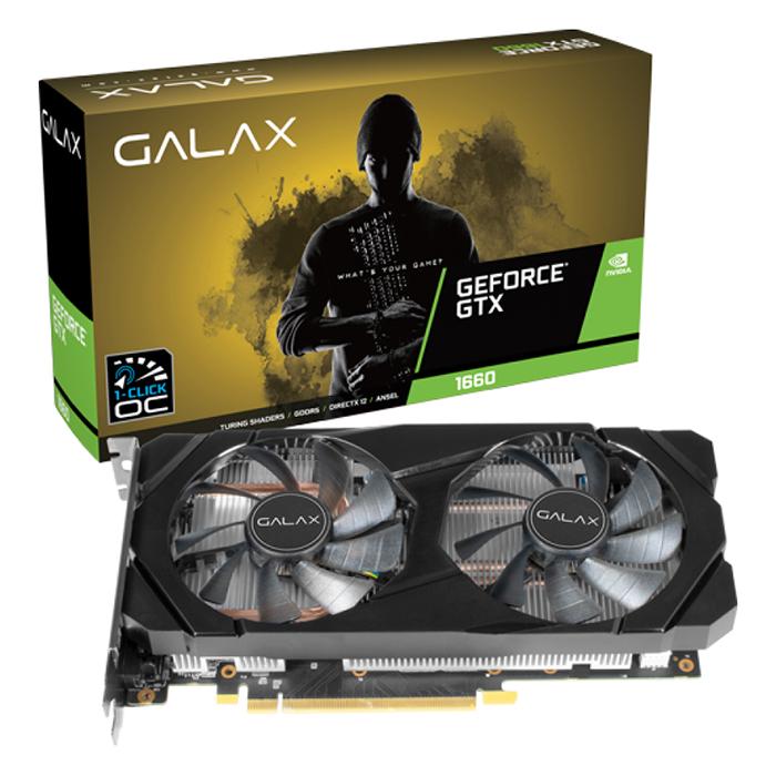 Card Màn Hình VGA Galax GeForce GALAX GTX 1660 (1-Click OC) 6GB DDR5  60SRH7DSY91C - Hàng Chính Hãng