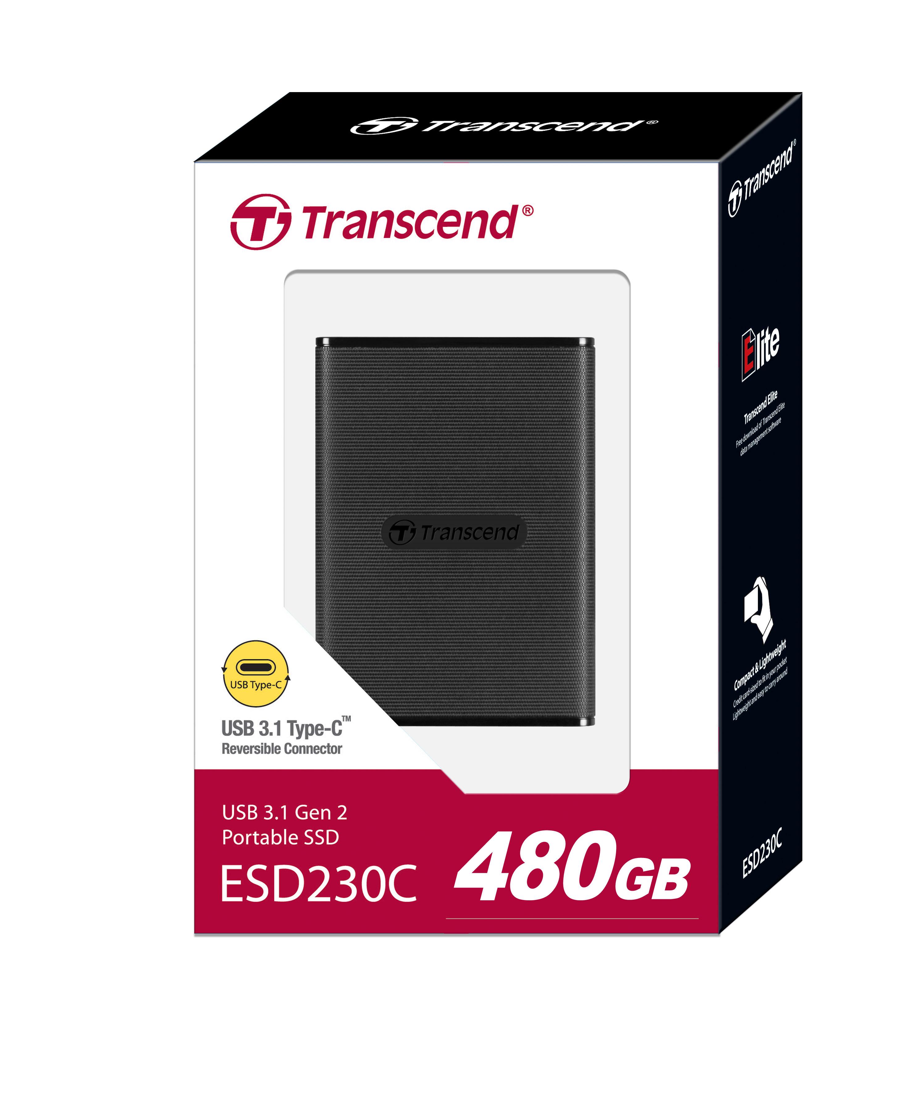 """Ổ Cứng Di Động SSD Transcend ESD230C 480GB 2.5"""" USB Type C - TS480GESD230C - Hàng Chính Hãng"""
