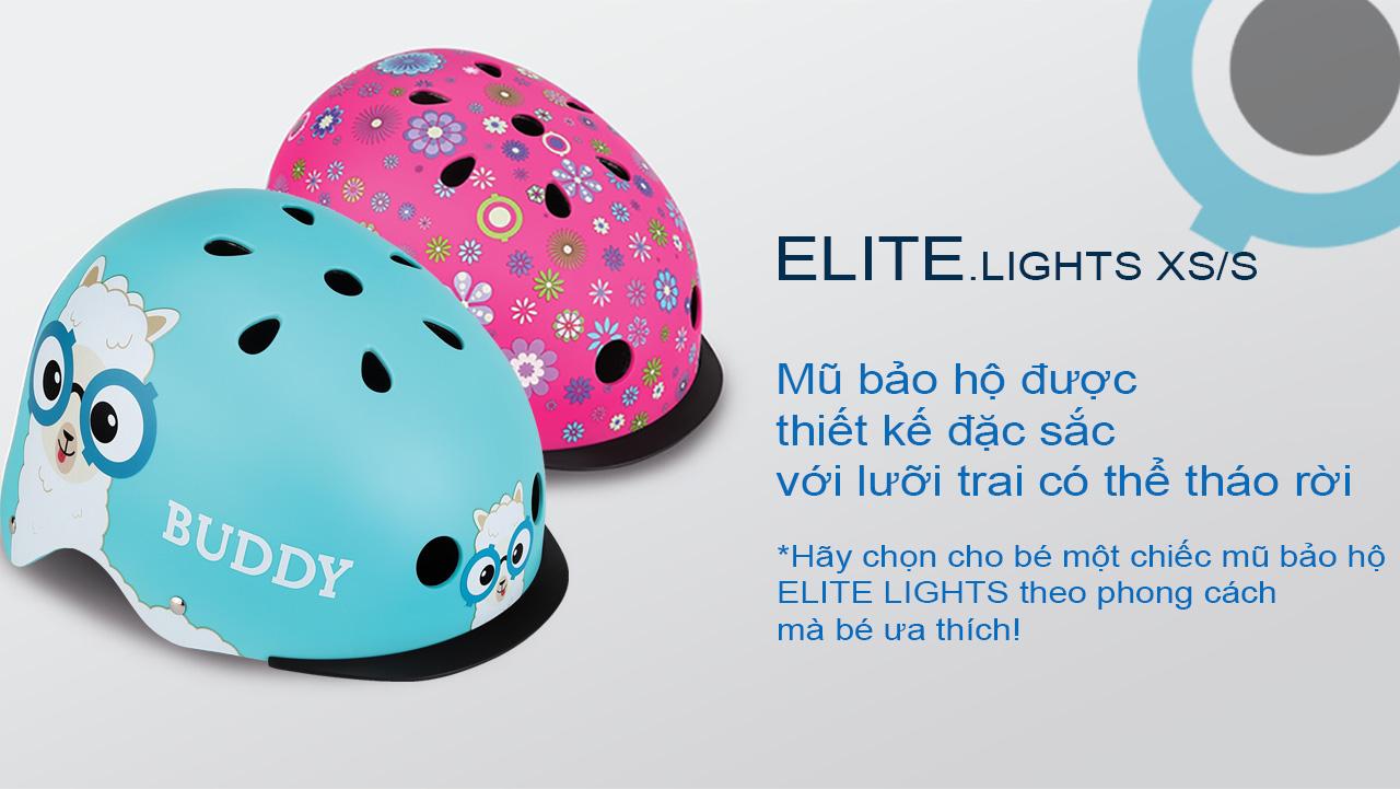 Mũ bảo hộ chơi xe trượt scooter GLOBBER ELITE LIGHTS XS/S cho trẻ em từ 3 đến 6 tuổi - Hồng/Hoa