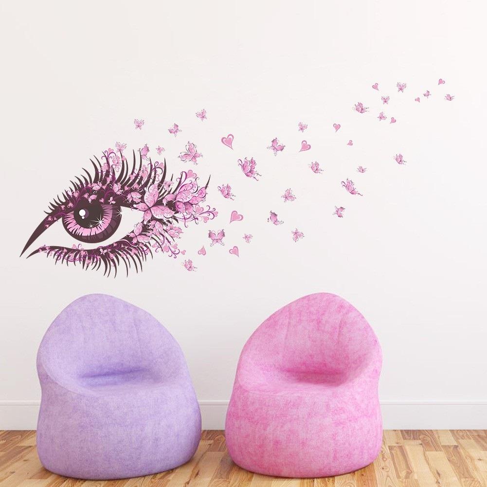 Decal dán tường ĐÔI MẮT LÃNG MẠN - Trang trí SALON đẹp sang trọng