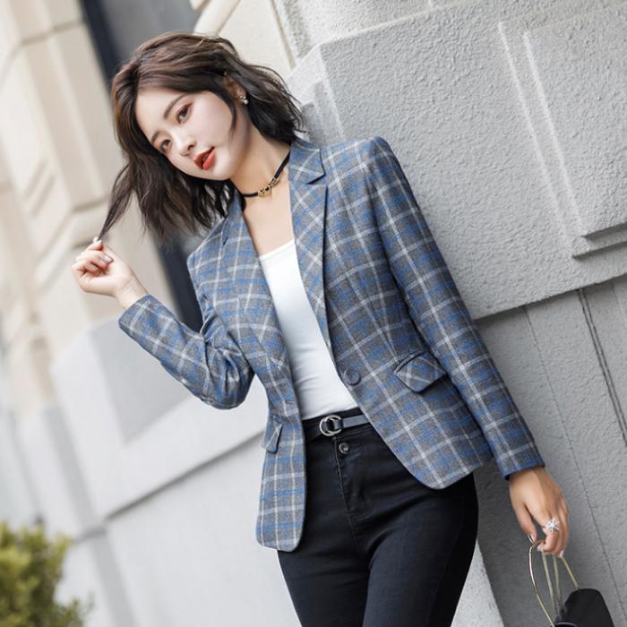 Áo khoác vest nữ caro phong cách Hàn Quốc NA66 4