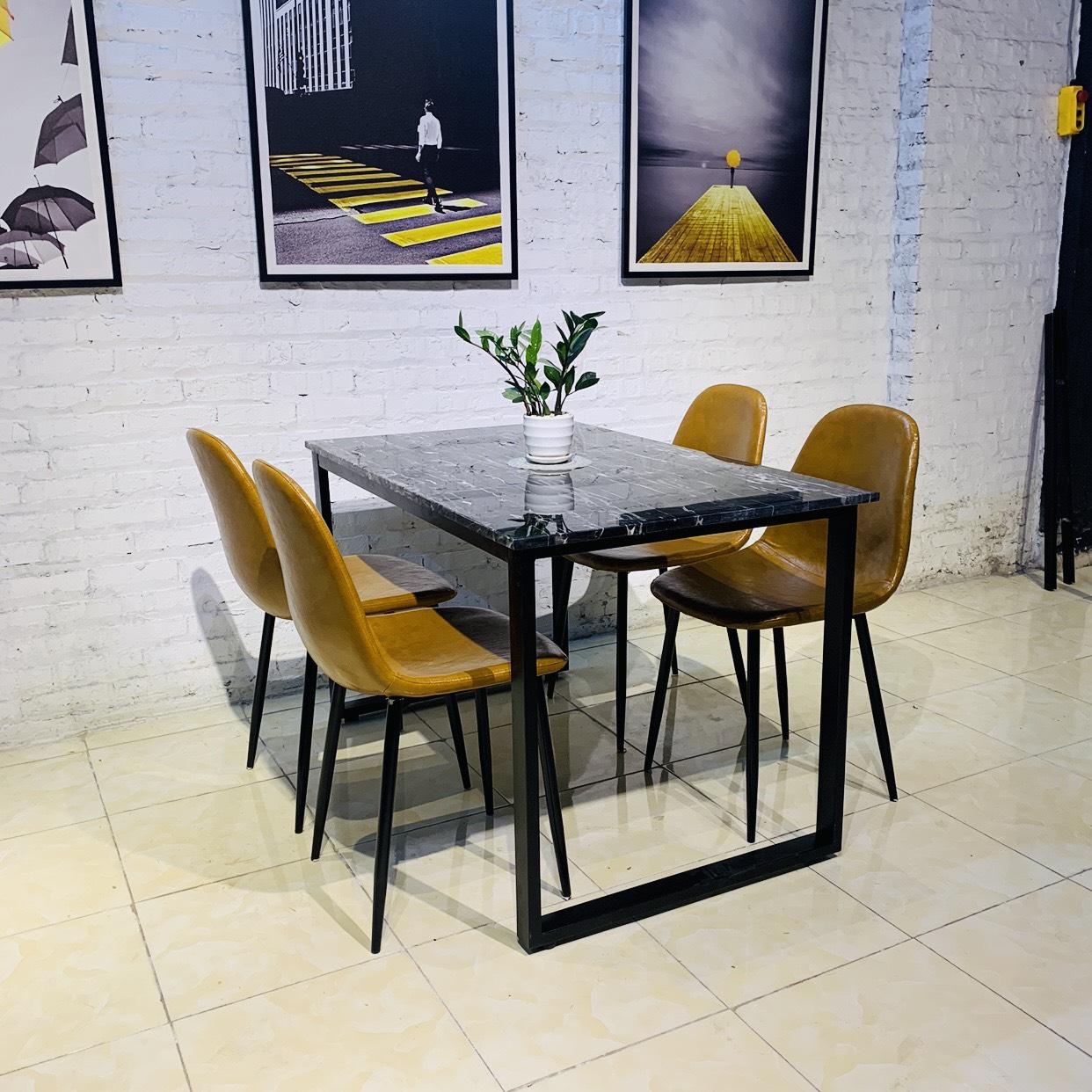 bộ bàn ăn ghế da mặt đá