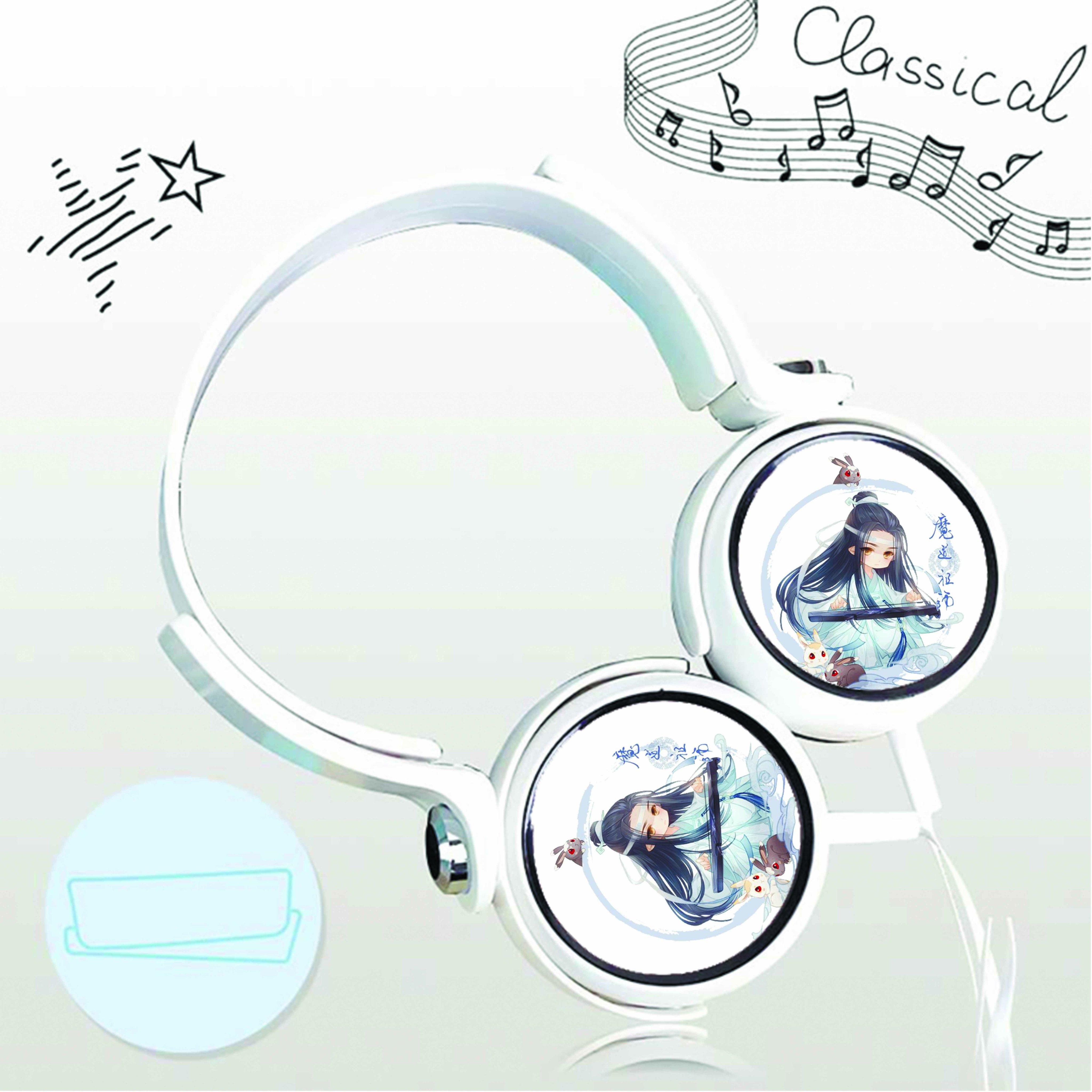 Tai nghe chụp in hình Lam Vong Cơ Ma Đạo Tổ Sư anime chibi cắm dây có mic