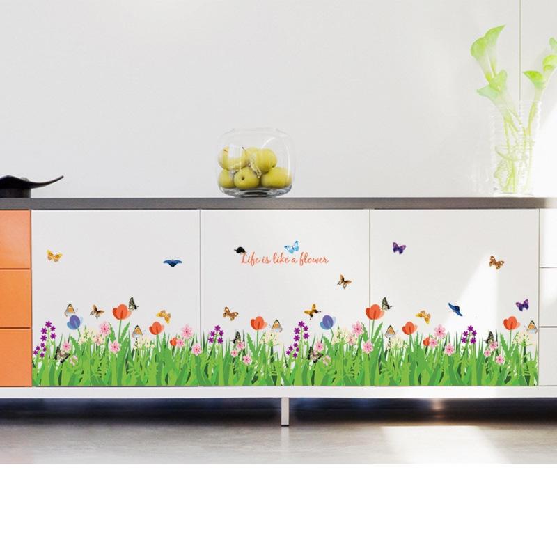 Decal dán tường bướm hoa sắc màu Trang trí chân tường, cầu thang đẹp