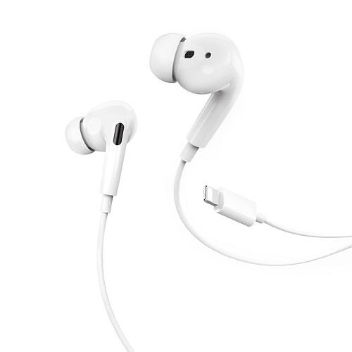 Tai nghe Hoco chân Lightning có mic điều khiển dây thông minh dây tráng men TPE dài 1,2m - Hàng chính hãng