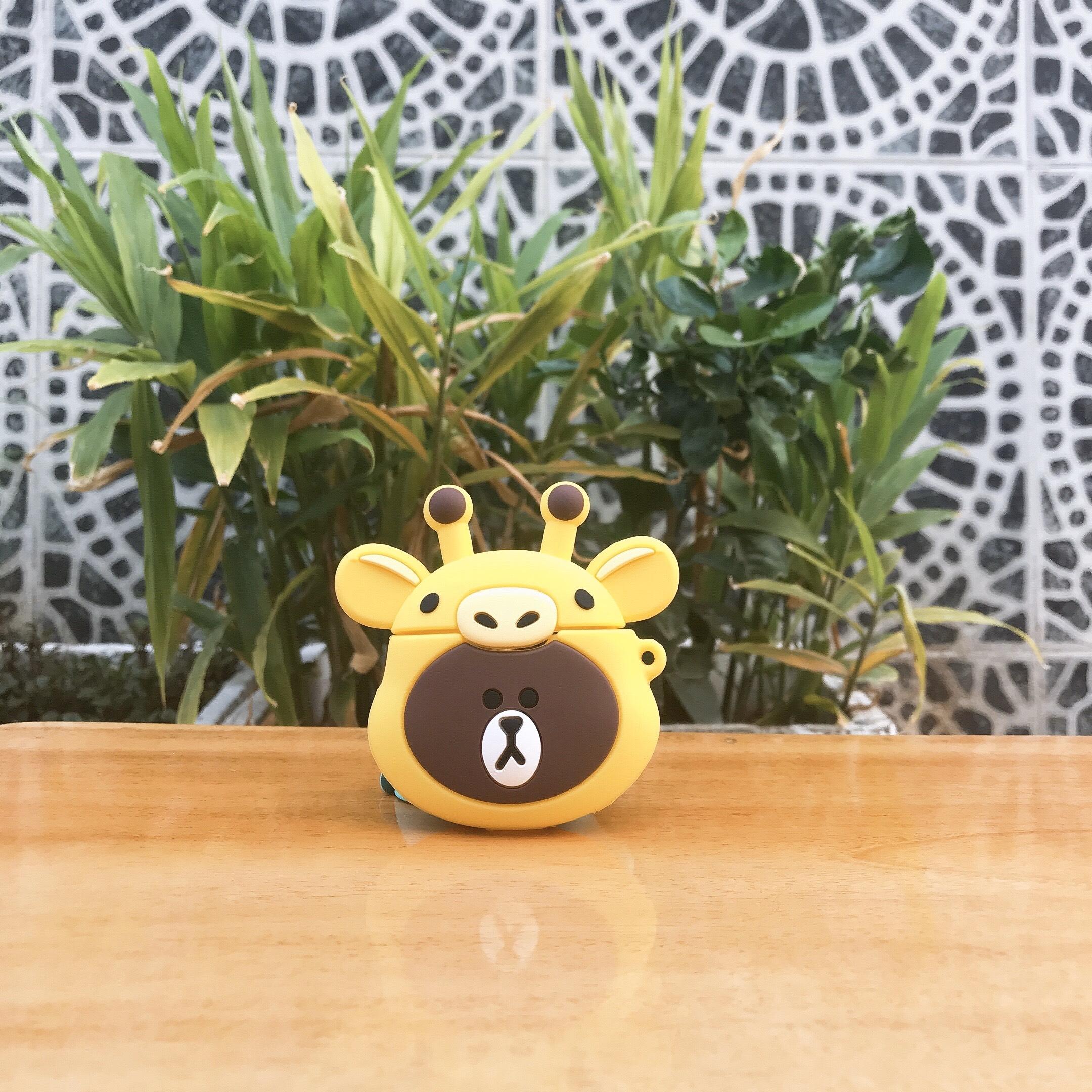 Bao Case Silicon Cho Tai Nghe Apple AirPods 1 / AirPods 2 -  Hình Gấu Mix Hươu