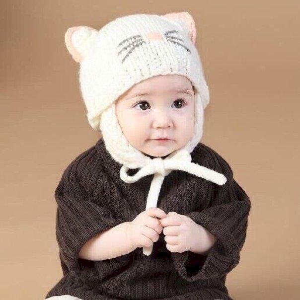 Mũ len râu mèo buộc dây cho bé 1 chiếc  - Trắng Sữa