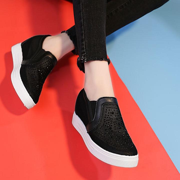 Giày nữ, giày slip on đế độn lưới V6 S294