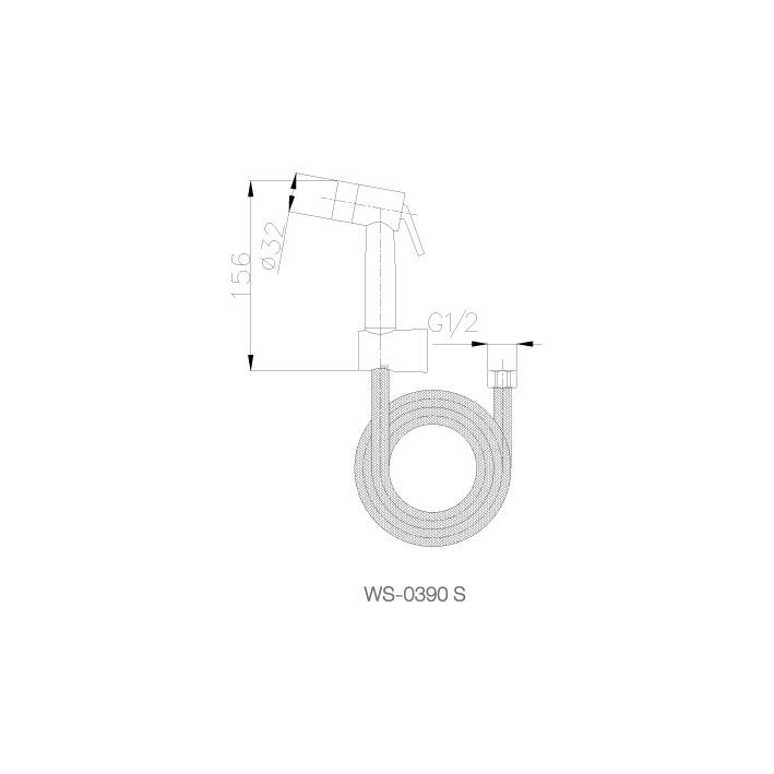 Vòi xịt rửa lạnh -kèm dây 1.2m - WS-0390S - INOX SUS 304