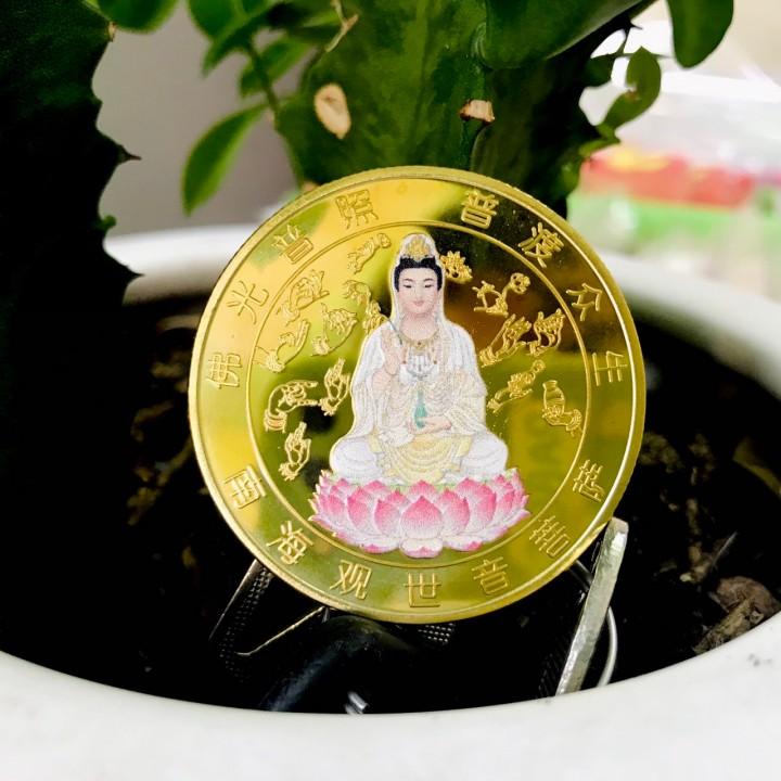 Xu Quan Âm vàng in màu, chất liệu xu bằng Niken, dùng để bỏ vào túi, mang theo trong người, cúng dường, các dịp Lễ, giúp bảo vệ bình an và xua tan vận rủi - TMT Collection - SP005193