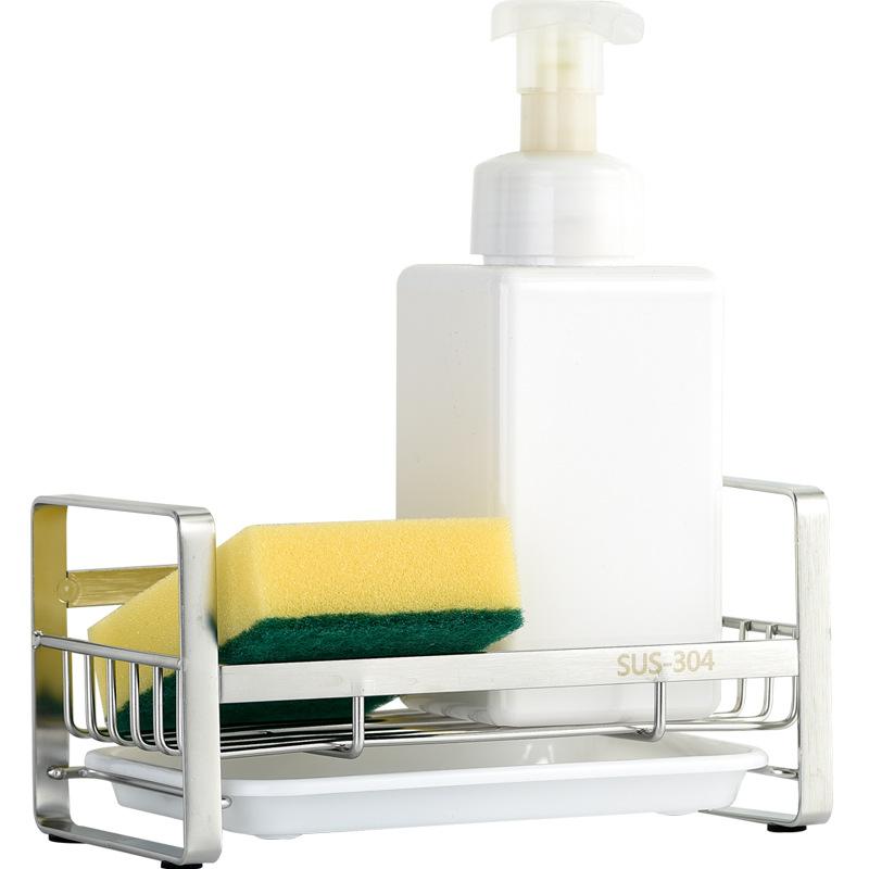 Kệ Để Dụng Cụ Rửa Chén Bát Inox 304 Đặt Bàn Kèm Khay Hứng Nước Tiện Lợi