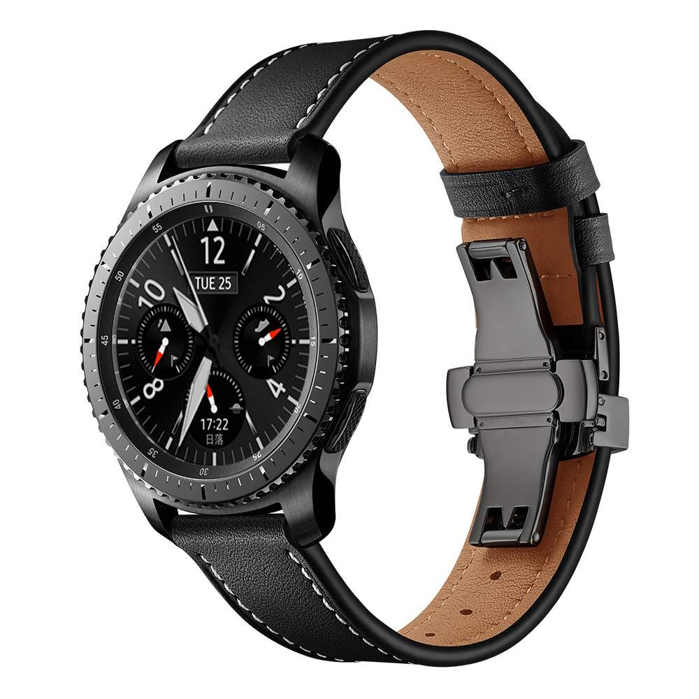 Dây Da Khóa Đen Chống Gãy Dành Cho Galaxy Watch 46 (Size 22mm)