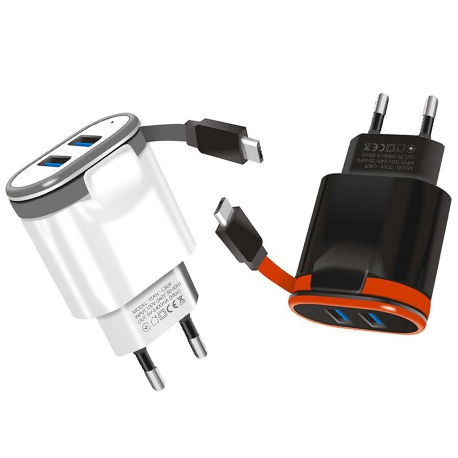 Bộ cốc sạc nhanh 2 cổng USB liền dây TITAN CB09 - Hàng chính hãng