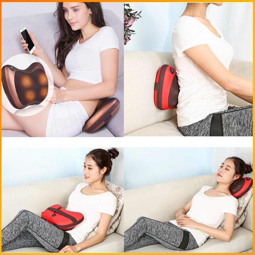 Gối massage hồng ngoại – Massage cổ 8 bi công nghệ 5D, mát xa cổ vai gáy - BH 3 tháng - Kaizo Mart