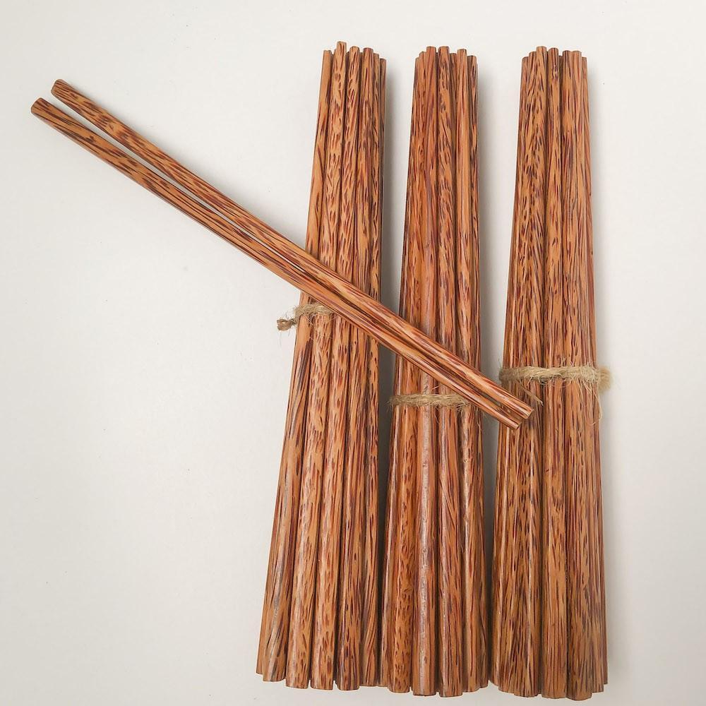 Bộ 10 đôi đũa ăn cơm cao cấp gỗ DỪA loại 1, đũa đẹp tự nhiên không hoá chất, không cong vênh, chống mốc, kháng khuẩn