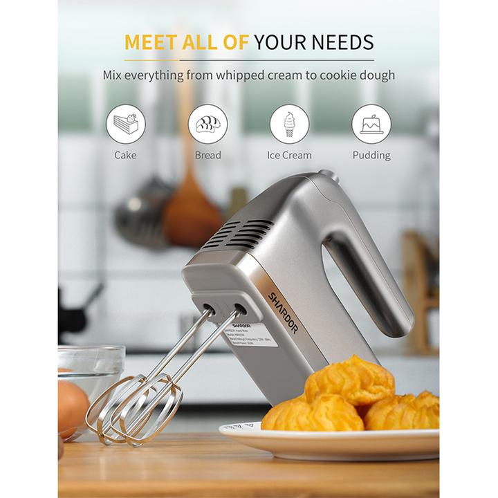 Máy đánh trứng và làm bánh cầm tay cao cấp thương hiệu Shardor HM315S - 5 tốc độ đánh - Công suất 350W - Chất liệu Inox 430 và Nhựa ABS - Hàng Nhập Khẩu