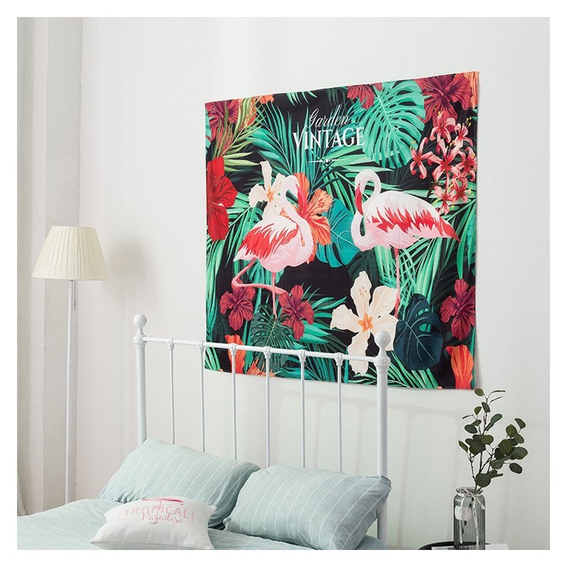 Tranh vải treo tường hồng hạc kiểu dáng vintage