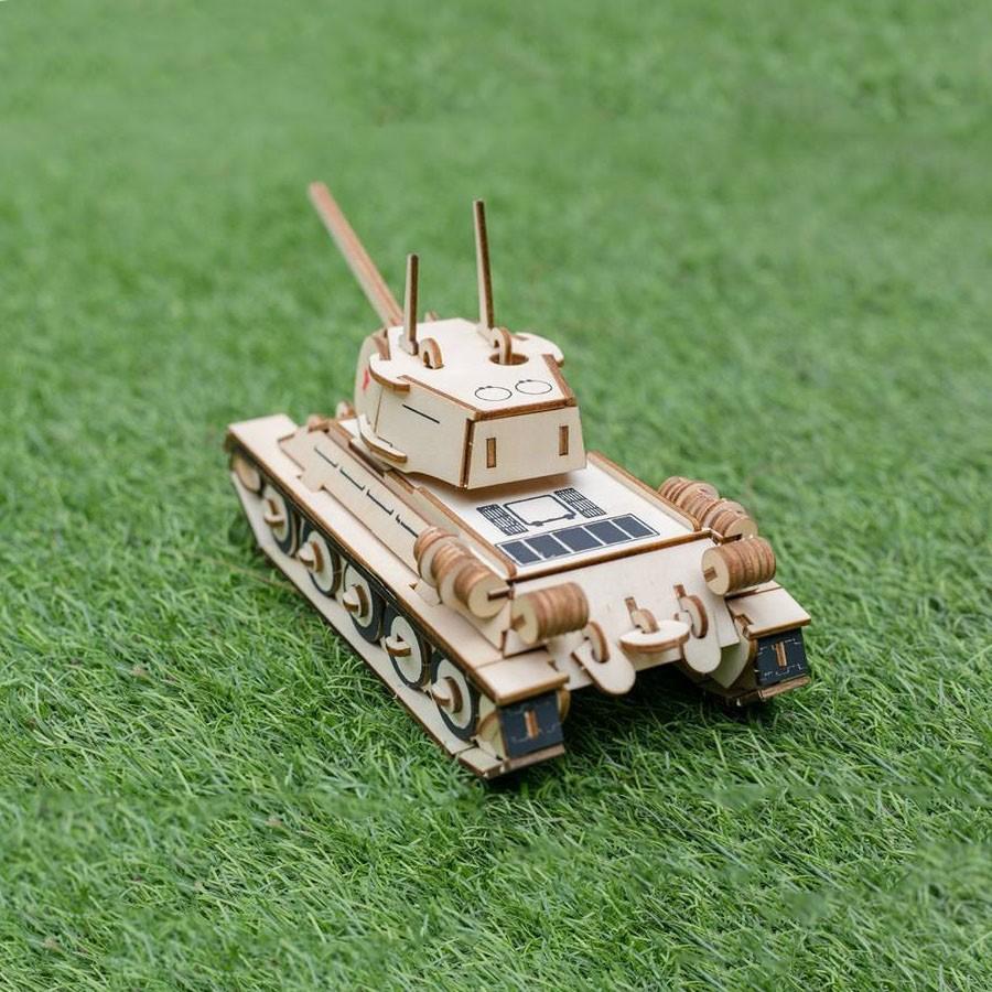 Đồ chơi lắp ráp gỗ 3D Mô hình Xe tăng T34 Laser