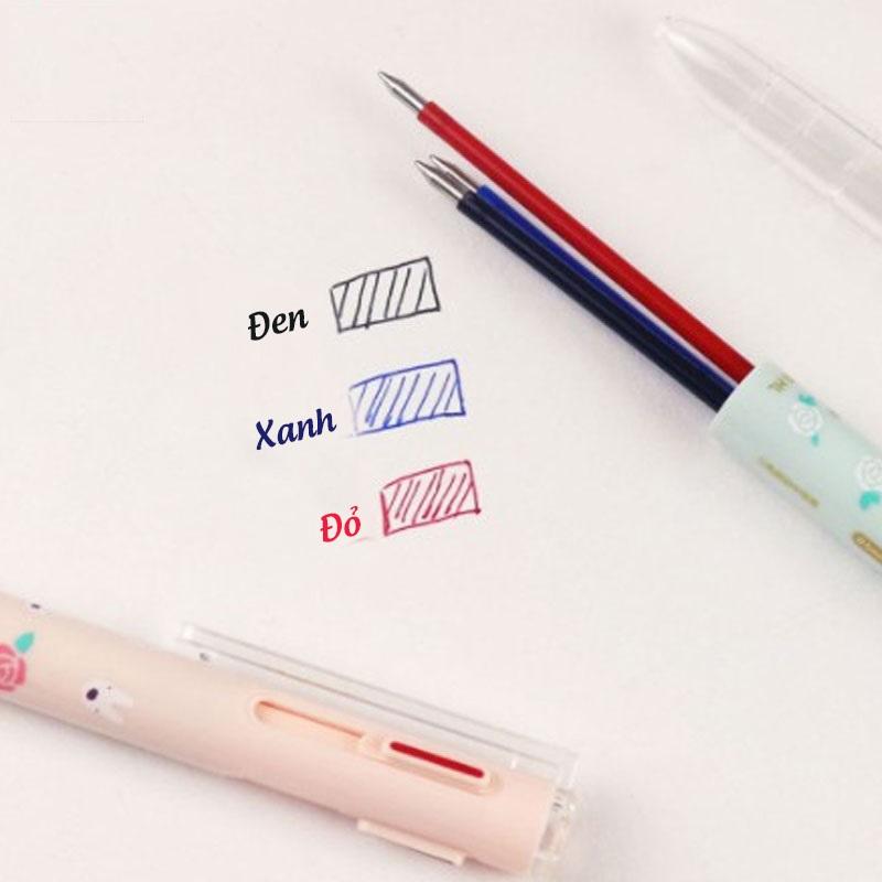 Bút Nước M&G 3 Ngòi QGPH8705 - ngòi 0.5mm- màu xanh, đỏ, đen, thân có hoa và hình con thú dễ thương-1 cây