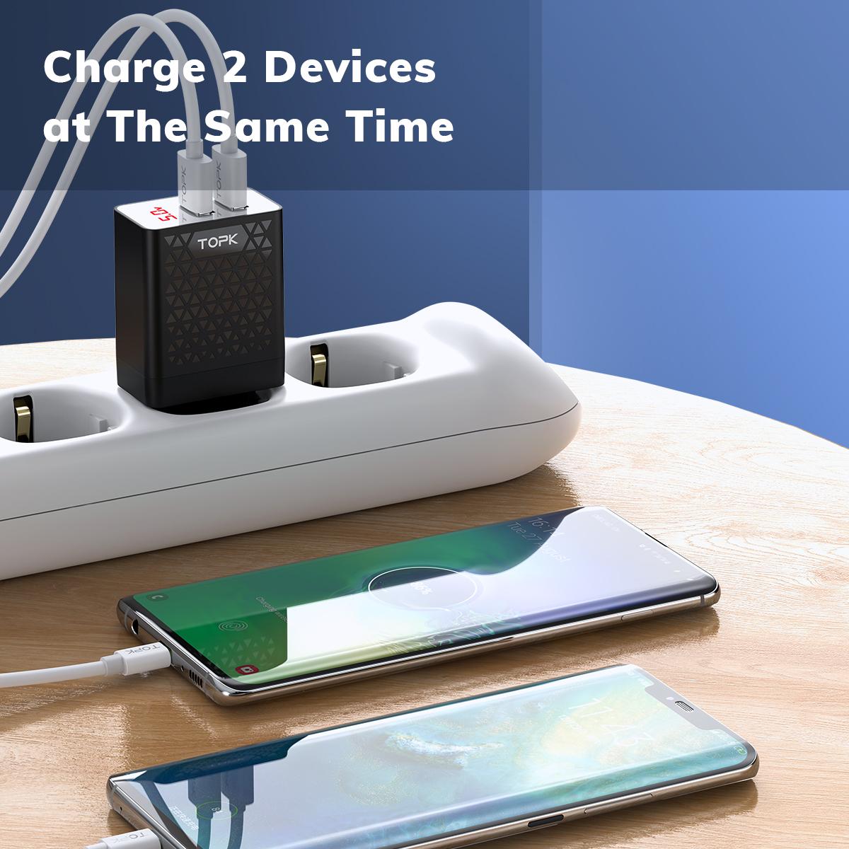 Củ Sạc Nhanh 12W 2xUSB TOPK BS254 Màn hình LED kỹ thuật số có IC chống quá dòng Cho Iphone Samsung Xiaomi Huawei Nokia Oppo - Hàng chính hãng