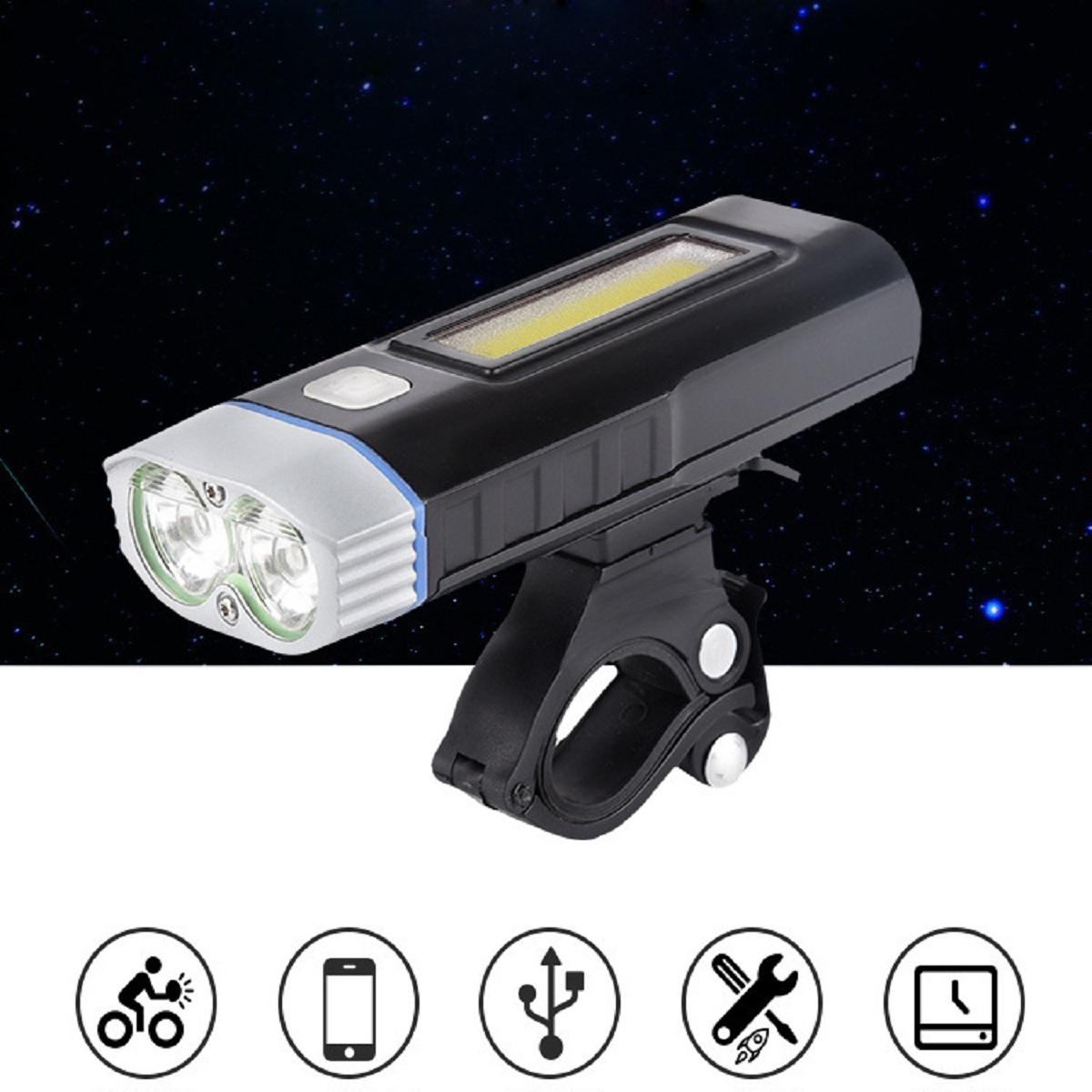 COMBO Đèn Xe Đạp HJ048 LED 2 Pha Kiêm Sạc Dự Phòng Và Đèn Hậu Sạc USB BS216