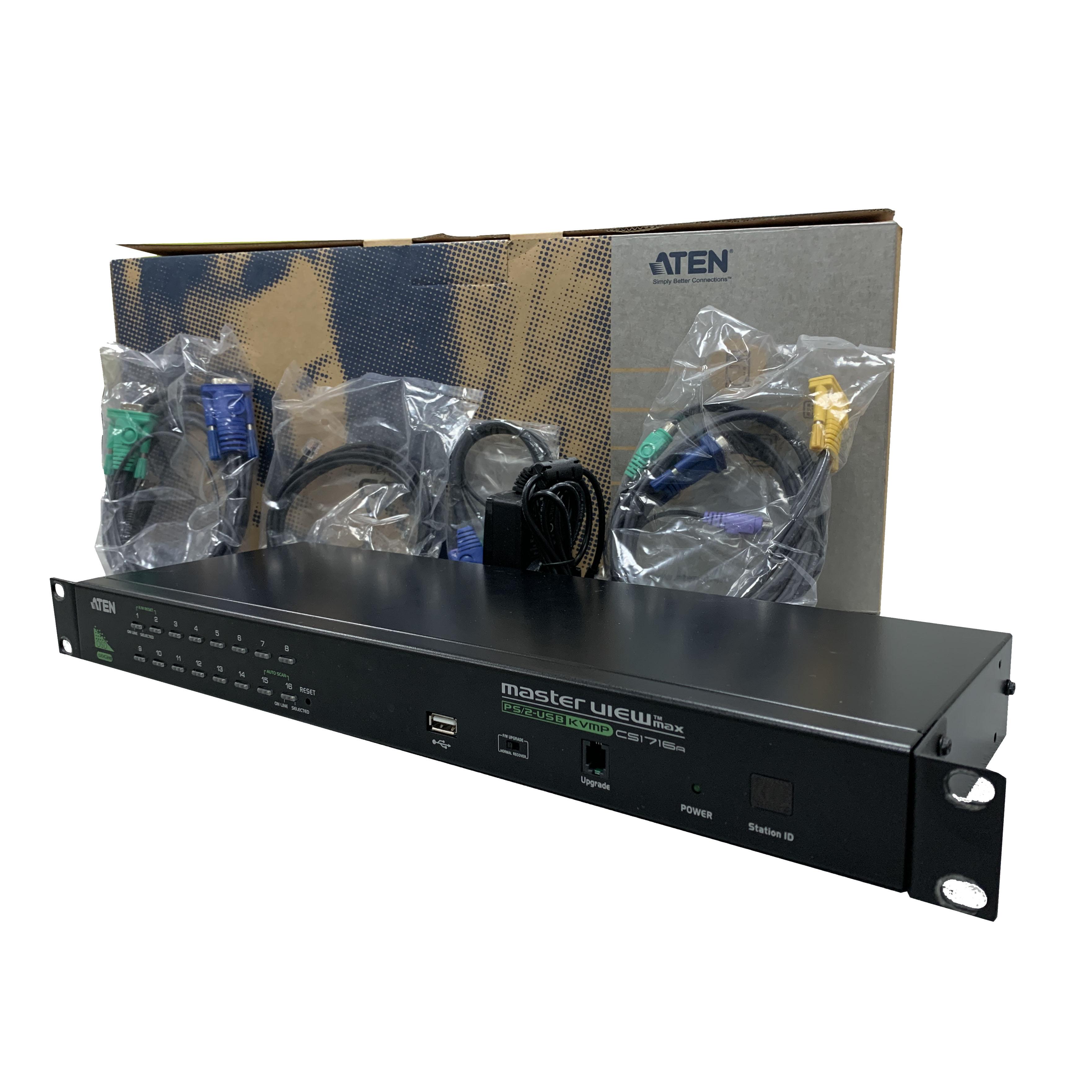 Bổ chuyển đổi PS/2-USB VGA KVM Switch 16 port - Aten CS1716A- Hàng chính hãng