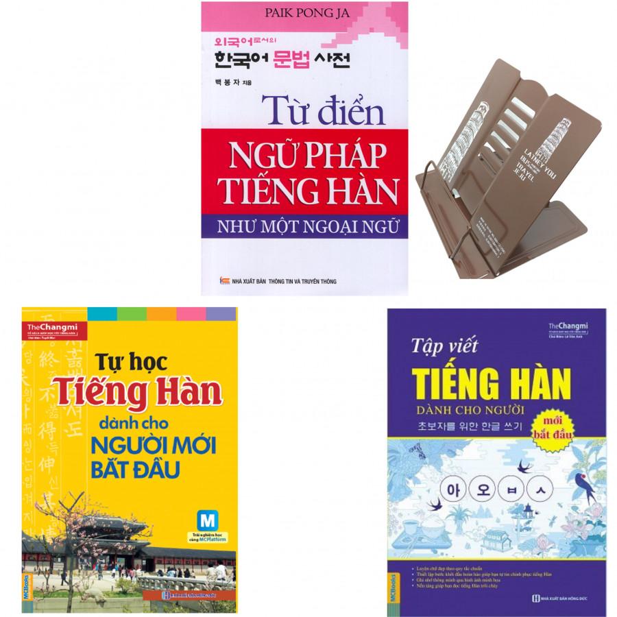 Combo Từ Điển Ngữ Pháp Tiếng Hàn, Tự Học Tiếng Hàn, Tập Viết Tiếng Hàn (Dành Cho Người Mới Bắt Đầu) (tặng kèm giá đọc sách)