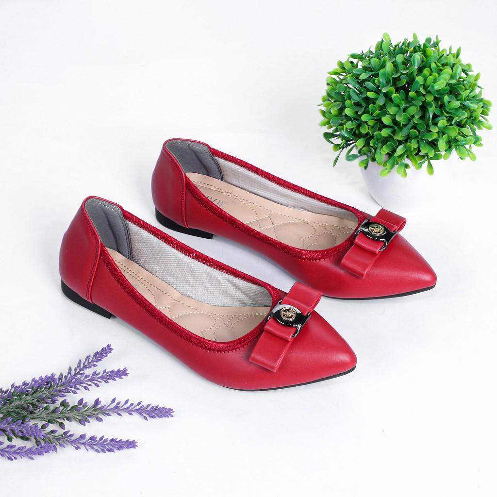 Giày Búp Bê Mũi Nhọn Đính Nơ Pixie X502
