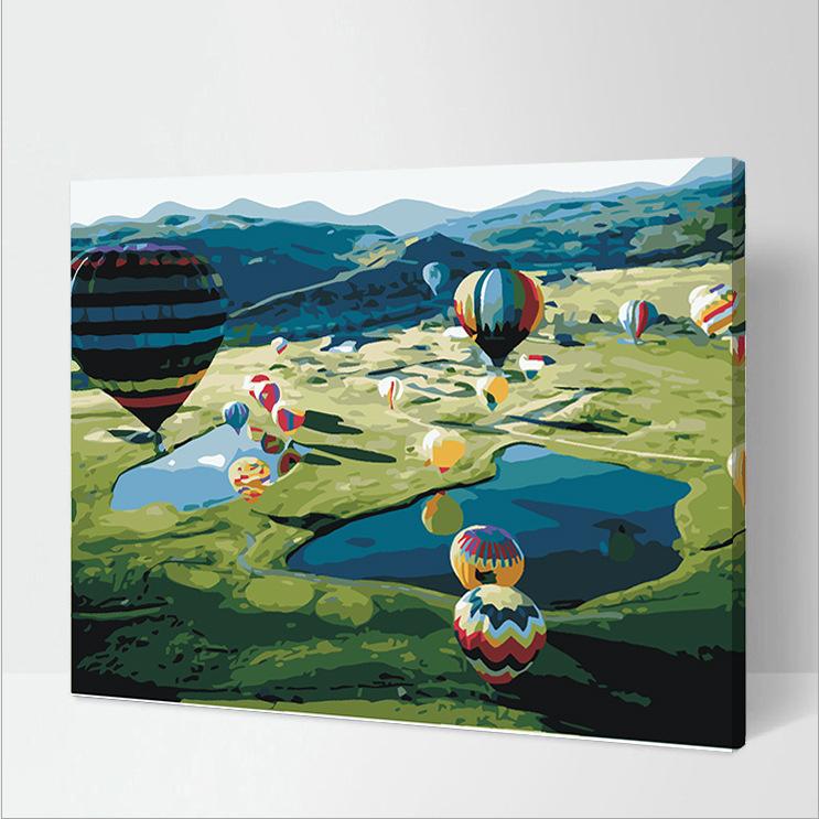 Tranh Tô Màu Theo Số Phong Cảnh Thung Lũng Khinh Khí Cầu