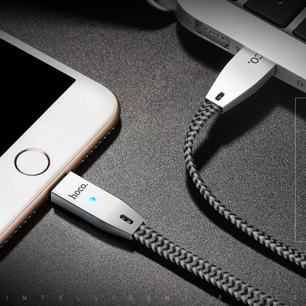 Cáp sạc iphone Hoco U11 dây dù led tự ngắt - hàng chính hãng