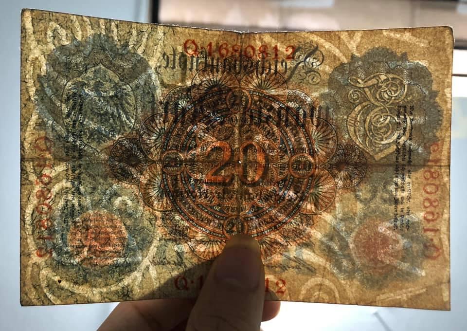 Tiền cổ hơn 100 năm tuổi, 20 Mark Đức 1914 sưu tầm