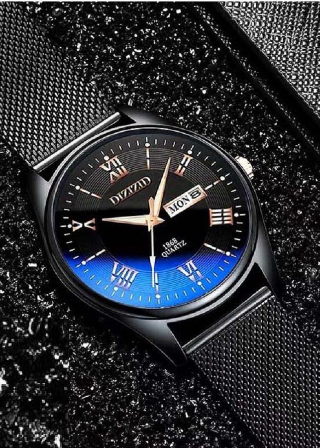 Đồng Hồ Nam DIZIZID mặt kính lồi đổi màu dây thép lụa đen chạy 2 lịch thứ, ngày ZIDLOI01