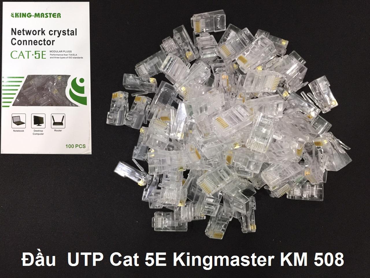 100 Đầu  UTP Cat 5E Kingmaster KM 508,ĐẦU BẤM MẠNG CAT 5, ĐẦU NHỰA, ĐẦU RJ45 NHỰA-HÀNG CHÍNH HÃNG