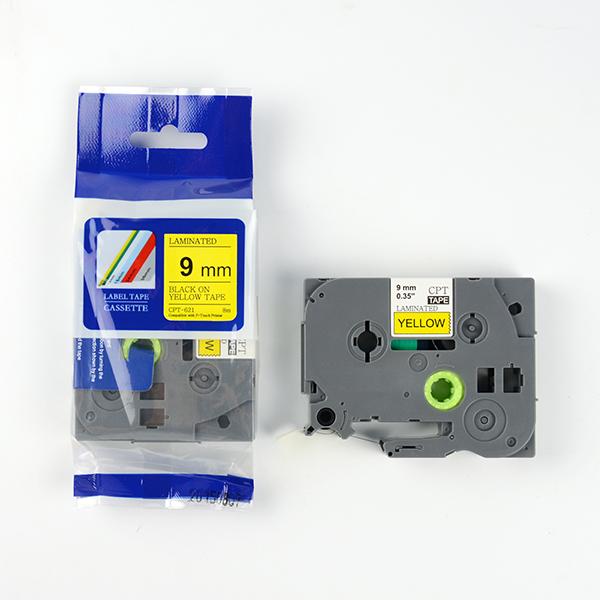 Tape nhãn in tương thích CPT-621 dùng cho máy in nhãn Brother P-Touch (chữ đen nền vàng, 9mm)