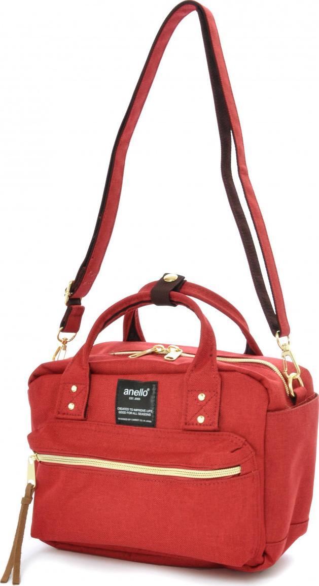 Túi đeo chéo ANELLO đeo 2 kiểu vải polyester cỡ nhỏ AT-C1223 - Màu Đỏ