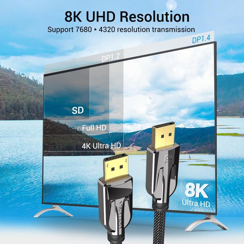 Cáp Displayport 1.4 Male to Male dài 1.5m Vention, Tốc độ cao 32.4Gbps, Hỗ trợ độ phân giải 8K@60Hz HCABG - Hàng chính hãng