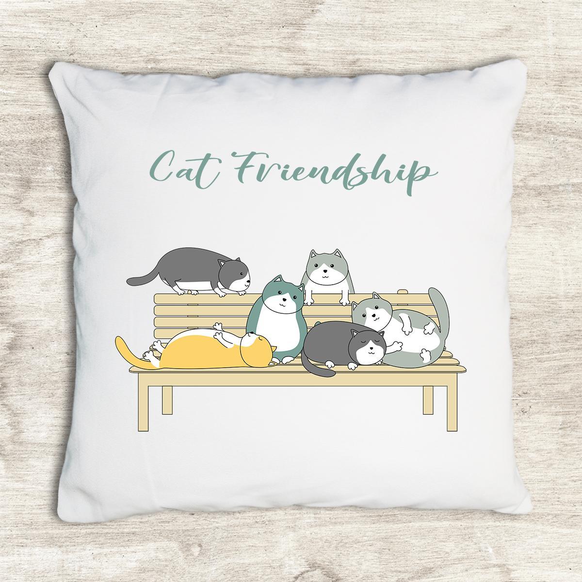 Gối tựa lưng trang trí vải canvas in hình handdrawn cute cat friendship cartoon G159