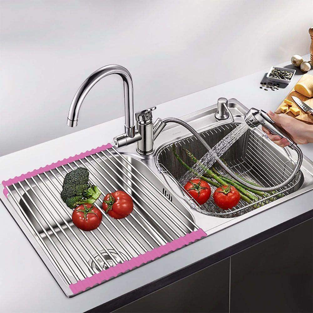 Kệ inox co giãn thông minh dùng để ráo nước trái cây, chén dĩa sau khi rửa - 47 x 24 cm giao màu ngẫu nhiên