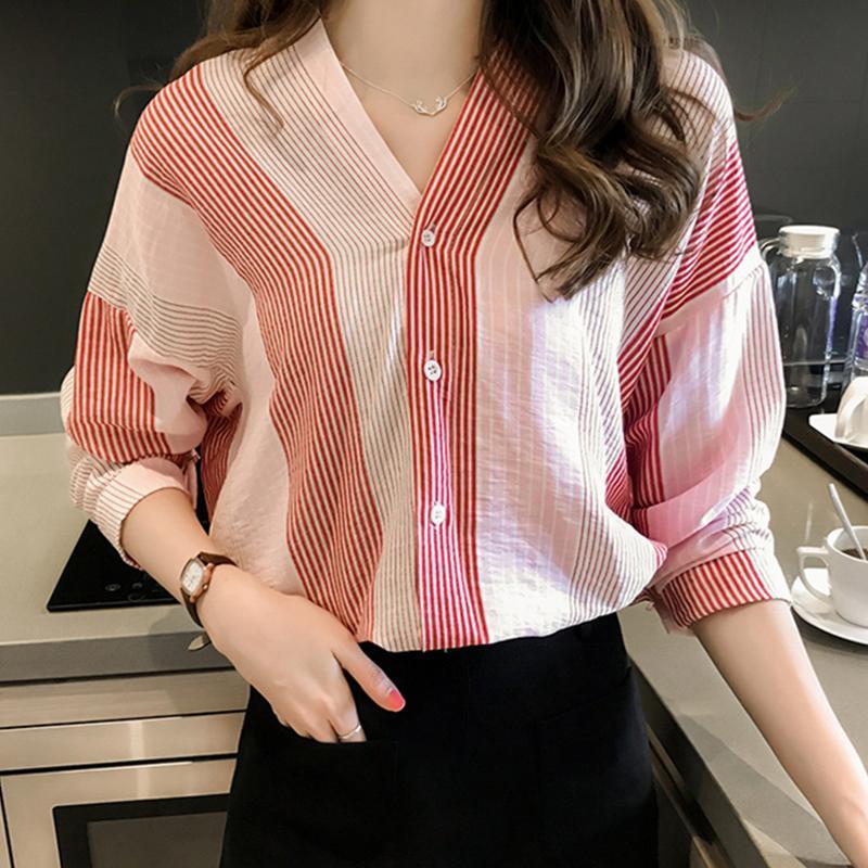 Women Loose Stripe Pattern Shirt V Neck Casual Shirt - Pink Size L - 23630772 , 8644355571444 , 62_20671846 , 331200 , Women-Loose-Stripe-Pattern-Shirt-V-Neck-Casual-Shirt-Pink-Size-L-62_20671846 , tiki.vn , Women Loose Stripe Pattern Shirt V Neck Casual Shirt - Pink Size L