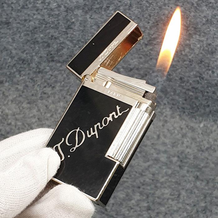Hộp Quẹt Bật Lửa Gas Đá Sơn Mài Đen D66T Họa Tiết Hoa Văn Cách Điệu  Màu Bạc Đen